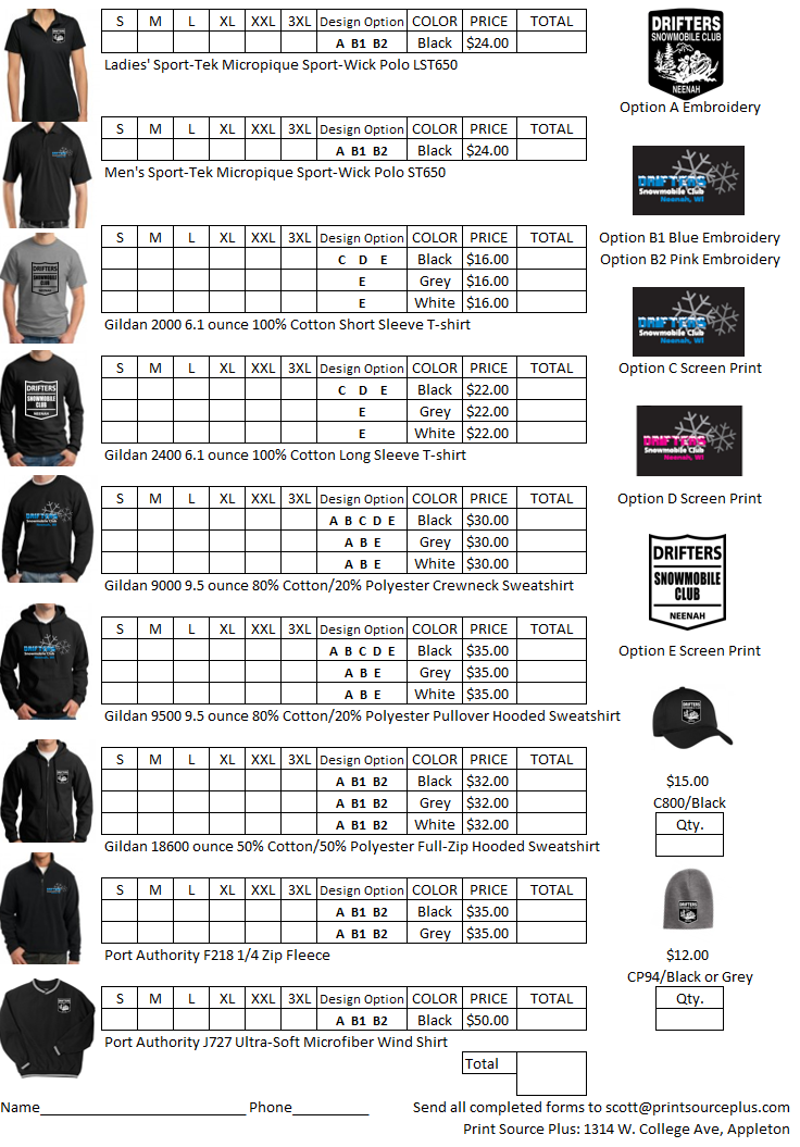 Drifters Apparel Order Form